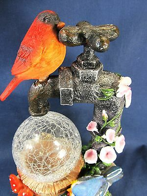 Red Bird on a Water Faucet w/ glass globe and LED light yard or patio decor 2