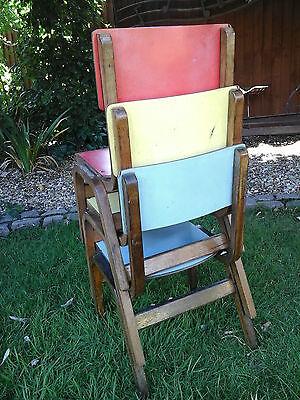 RARE COLLECTORS~ 1x Antique Vintage Wooden Child School Desk Chair (3 available) 6