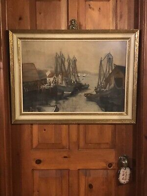Vintage,Original Gouache/Opaque Water Paint Seascape Painting,At Portside, Large 2