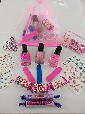 Girls Pamper Sleepover  Birthday Party Pre-filled Pink Organza Gift Bag 7