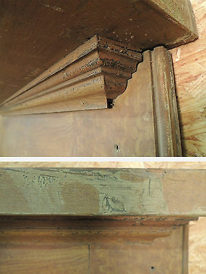 Antique 19c American Grain Painted Fireplace Mantel - Pine & Square Nail VR 12