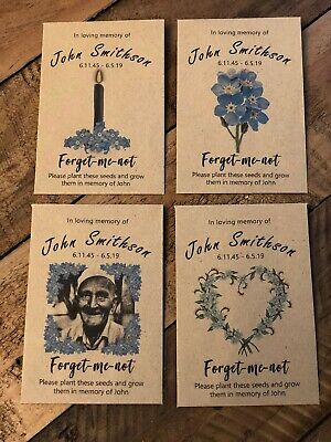 Funeral Seed Packets Favours personalised including forget me not seeds 10 packs 2