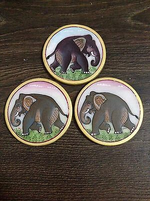 Set Of 6 Marble Coasters Hand Painted Heavy Duty Drinks Mug Mat Table Protector