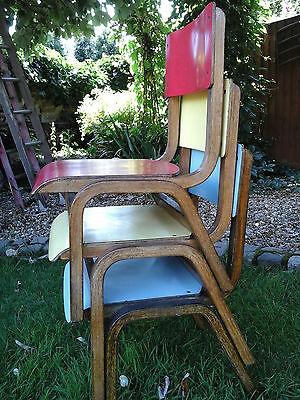 RARE COLLECTORS~ 1x Antique Vintage Wooden Child School Desk Chair (3 available) 4