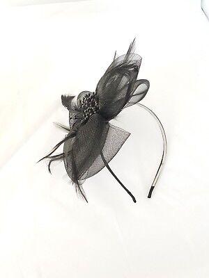 Women Race Feather Flower Fascinator Headband Hat Wedding Prom Day Royal Ascot 2
