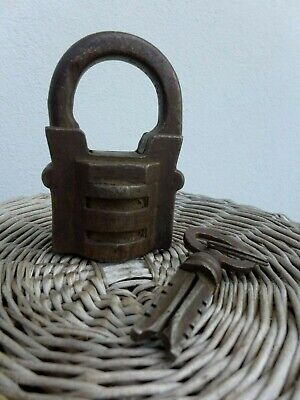 Antique Large Padlock With One Working Key Unique Made in Russia 27-01 3