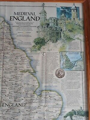 VINTAGE MEDIEVAL ENGLAND MAP 31 x 24 ins PRINTED IN WASHINGTON 1979. 3