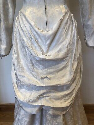 Pretty Vintage 1950s Bridal Wedding Dress with Bustle Off White Damask 8 10 8