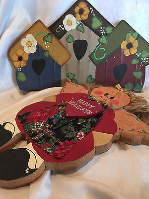 Wooden Yard Folk Art Lawn Or Patio Decorations Bird Houses And  A Holiday Angel 5