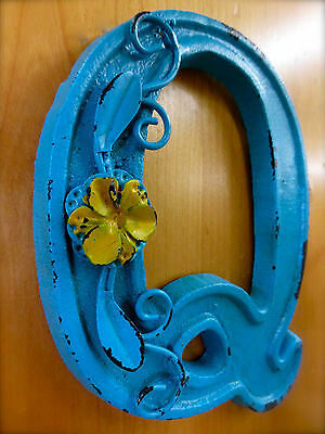 "BLUE CAST IRON WALL LETTER ""Q"" 6.5"" TALL rustic vintage decor sign child nursery 2"