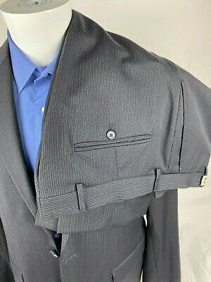 Joe Joseph Abboud Mens Large Dress Suits Navy Blue Pin Stripe 6