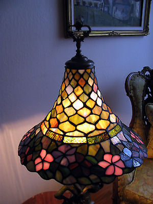 Vtg Deco Victorian Figurine Figural Table Lamp Chandelier Glass Shade Fixture 10