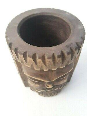toller seltener Holz Mörser Apotheke antiker Stößel Pistill mit Gesicht RaR 6