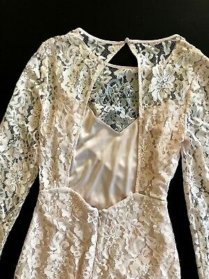 NWT Bebe coral pink blush lace floral open back long sleeve top dress M Medium 6 8