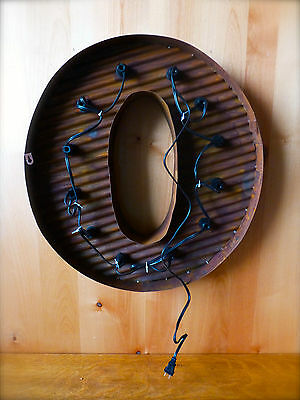 """LG BROWN VINTAGE STYLE LIGHT UP MARQUEE LETTER O, 24"""" TALL novelty rustic sign 4"""