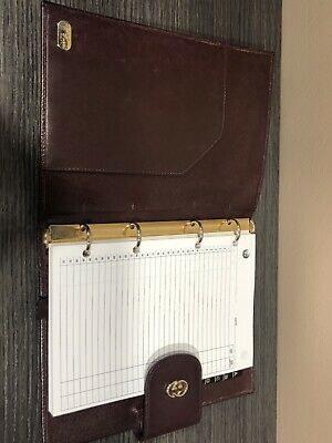 GUCCI Vintage Gold GG Logo Agenda Day Planner Binder Cover Leather Italy 5