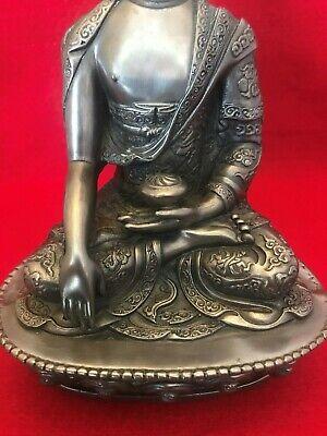 19.5 CM Tibetan Buddhist  Cold Cast Bronze Shakyamuni Amitabha Buddha Statue. 7