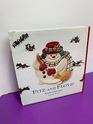 Fitz and Floyd Plaid Christmas Snowman Canape Plate Ceramic Holiday Essentials 3