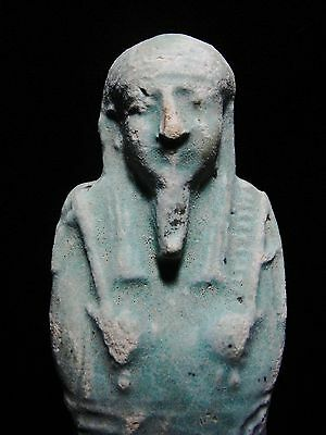"Zurqieh - Ancient Egypt,huge Inscribed With Hieroglephs ,faience Shabti , 6 1/2"" 2"