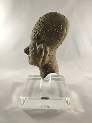 Amazing Archaic Style Bust Pottery on Clear acrylic display base -Mesoamercian? 5
