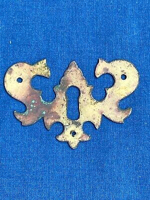 Antique Brass Chippendale Batwing Escutcheon Key Hole Cover Reclaimed Hardware 2