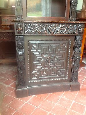 17th Century Carved Oak Library Bookcase Flemish Lion Head Pussy Oak Angels Pray 4 • £2,499.99