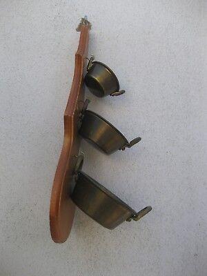 lote de 3 calderos de cobre con soporte de madera para colgar