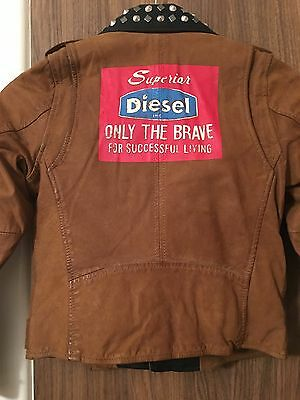 Diesel L-Ulisse Brown Studded Leather Jacket For Boys & Girls 10 Yrs Rrp £399 7