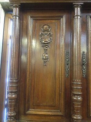 Carved Victorian Walnut Flemish Buffet Bookcase Bacchus Dresser GreenManPussyOak 9