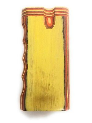 """4"""" Colorful Wooden Tobacco Dugout Set with Pipe Easy Grip (3"""" Metal One Hitter) 10"""