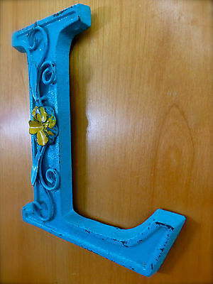 "BLUE CAST IRON WALL LETTER ""L"" 6.5"" TALL rustic vintage decor sign child nursery 3"