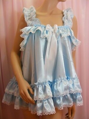 ADULT baby sissy blue satin babydoll negligee nightie dress fancydress unisex 5