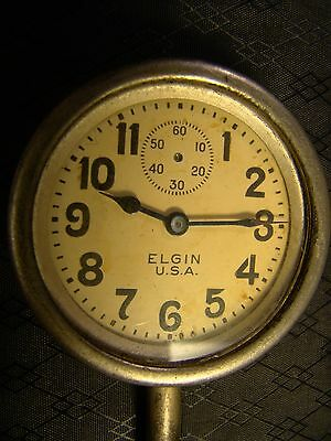 Vintage Elgin Car Clock Pocket Watch Long Stem Case Face Glass Parts or Repair 3