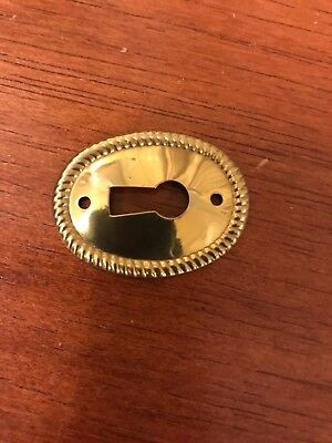 Oval Rope Border Stamped Brass Decorative Vertical Escutcheon Key Hole Cover 3