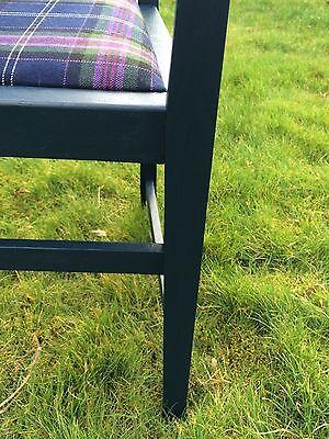 Painted Vintage Oak Carver with 100% Wool Tartan Seat - navy 4