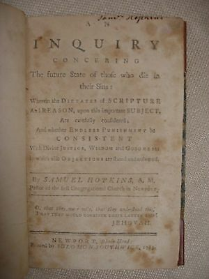 An Inquiry Concerning... signed by John Hopkins and Samuel Hopkins (Authors) 3 • CAD $1,575.00