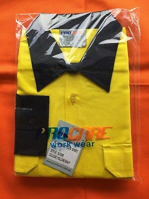 5 x Hi Vis Work Shirt vented cotton drill long sleeve SAFETY WORKWEAR UNIFORM 8
