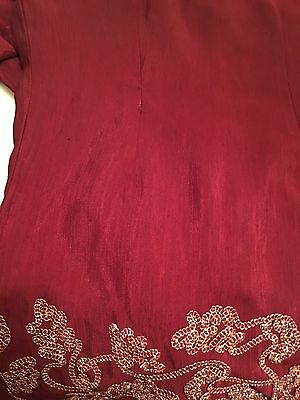Ladies Beautiful 3 Piece Indian Red Gold Bollywood Shalwar Kameez Suit Size 10 12