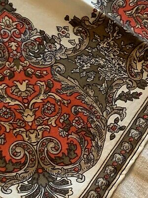 Vtg 80s Italian Silk Scarf Cream W/Brown Red Cluster Border Chariot Ships Wheel 11