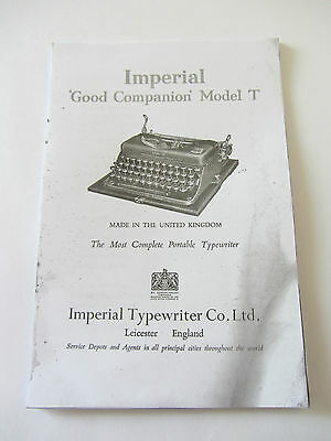 Imperial Good Companion Model T-Photocopy Of A Well Thumbed Instruction Booklet
