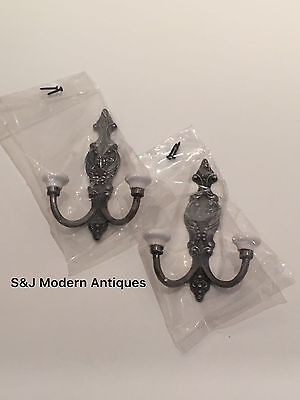 Victorian Iron Double Coat Hook Metal Retro Antique Black Vintage Shabby Chic 2