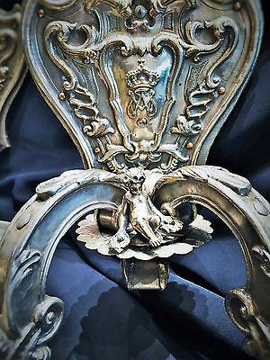 Unique! A Pair of XIX C. Heraldic Silver Wall Sconces of Amadeo I, King of Spain 2