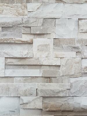 3D Slate Stone Brick Effect Wallpaper Grey Beige  1