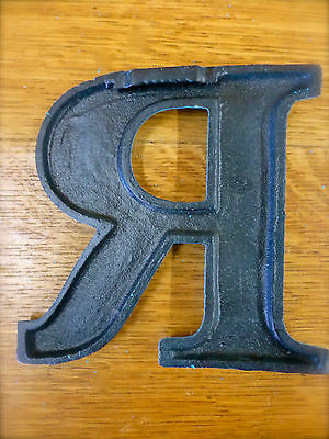 """BLUE CAST IRON WALL LETTER """"R"""" 6.5"""" TALL rustic vintage decor sign child nursery 5"""