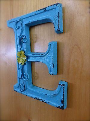 "BLUE CAST IRON WALL LETTER ""E"" 6.5"" TALL rustic vintage decor sign barn nursery 3"