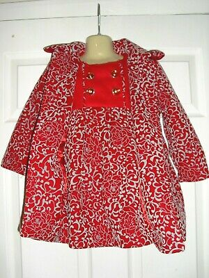 GIRLS 3 PIECE WINTER SET- COAT, DRESS, HAT age 4 yrs from BUTTERFLY WINGS in VGC 2