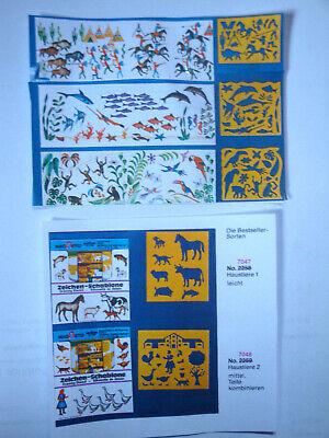 5 St Malschablone Kinder Tiere Pferd Kuh Hund Schwein Fische Ziege Ente Gans Hai