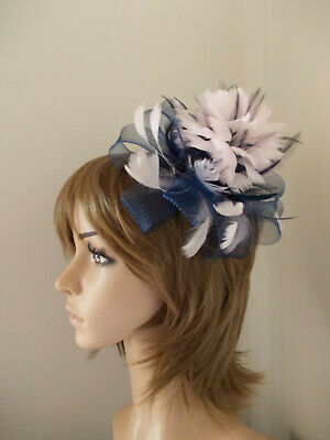 Navy Blue & Pale Pink Looped fascinator feathers hair clip brooch 2