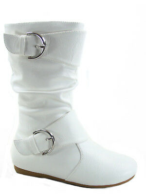 12 Colors Cute Causal Flat Buckle Zip Mid-Calf Girl/'s Kid/'s Boots Size 9-4 NEW
