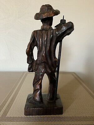 "Collectible Hand Carved Wood Man Figurine 12"" 3"